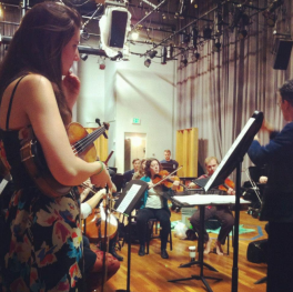 Rehearsing Beethoven concerto with CalArts orchestra